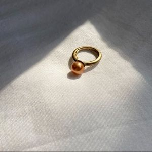 VTG Warm Champagne Pearl Gold Brass Ring | 7.5